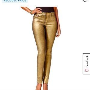 INC Metallic Gold Stretch Regular Fit  Jean nwt
